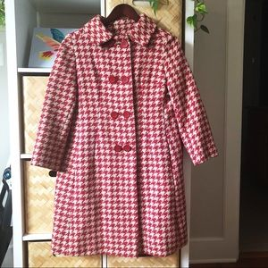 Vintage Red and White Houndstooth Coat